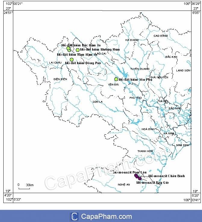 Sơ đồ phân bố các mỏ đất hiếm ở Việt Nam
